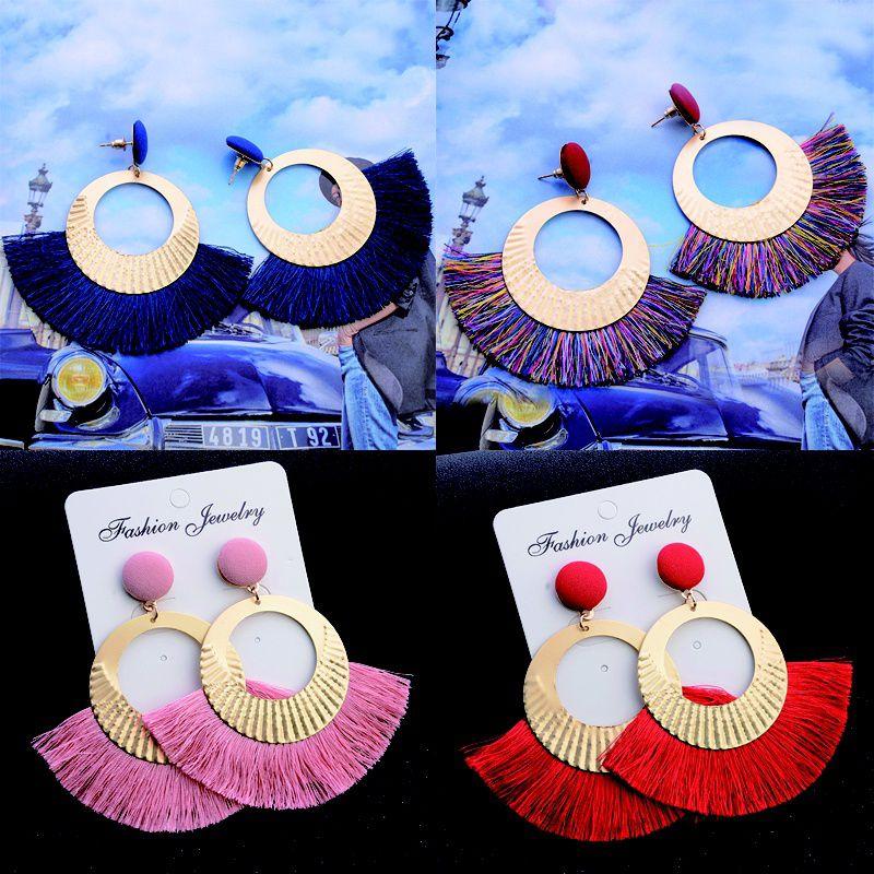 fashionstorese   Openwork Style Big Circle Crystal Tassel Dangle Stud Earrings Fashion Jewelry