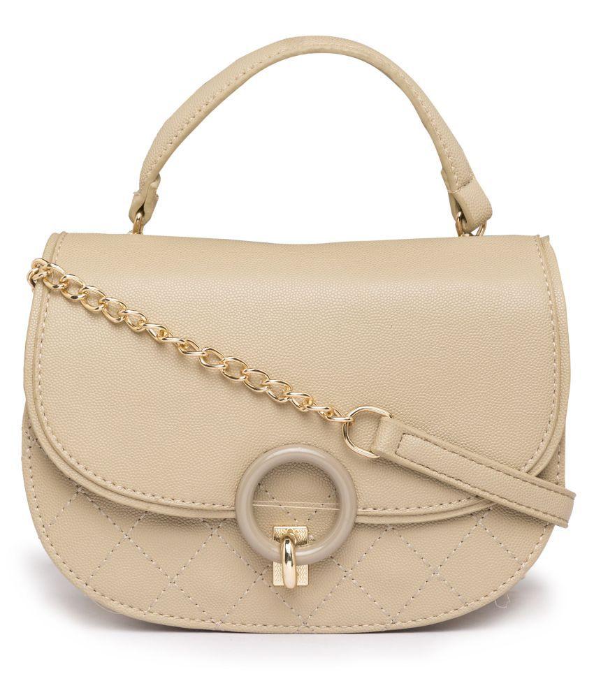 Satchel Bags Beige P.U. Sling Bag