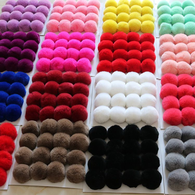 20 Colors Real Fur Ball 6cm Pompom  pompon  Rabbit  Ball  Fur DIY Ponpon