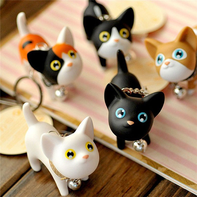 Cute Cartoon Cat KeyChain Men and Women KeyRing Car Charms Pendant