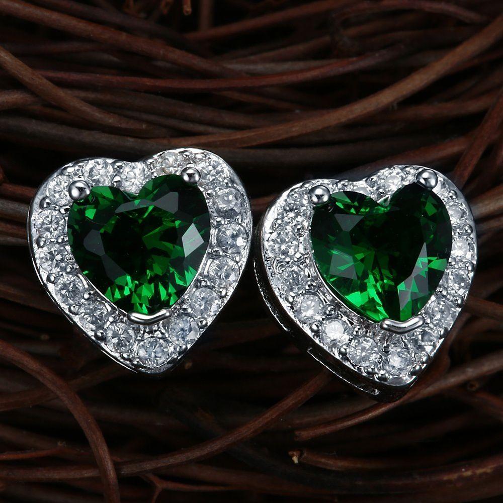 Natural Heart Emerald Gem 925 Sterling Silver Cocktail Stud Earrings