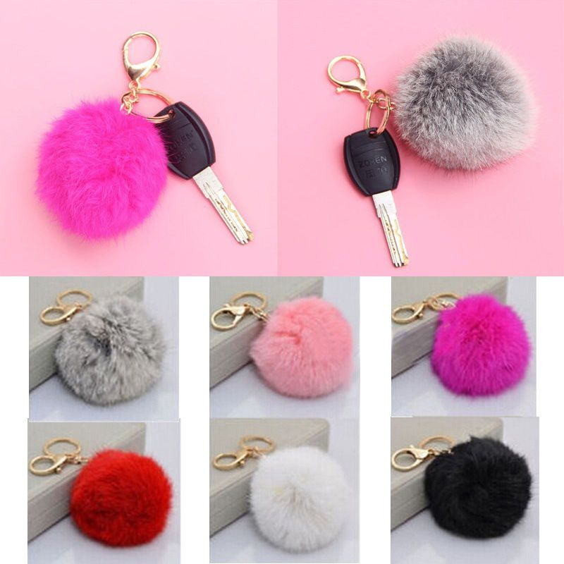 This 8cm keychain has a ball of real fur that is cute, soft, and fluffy!