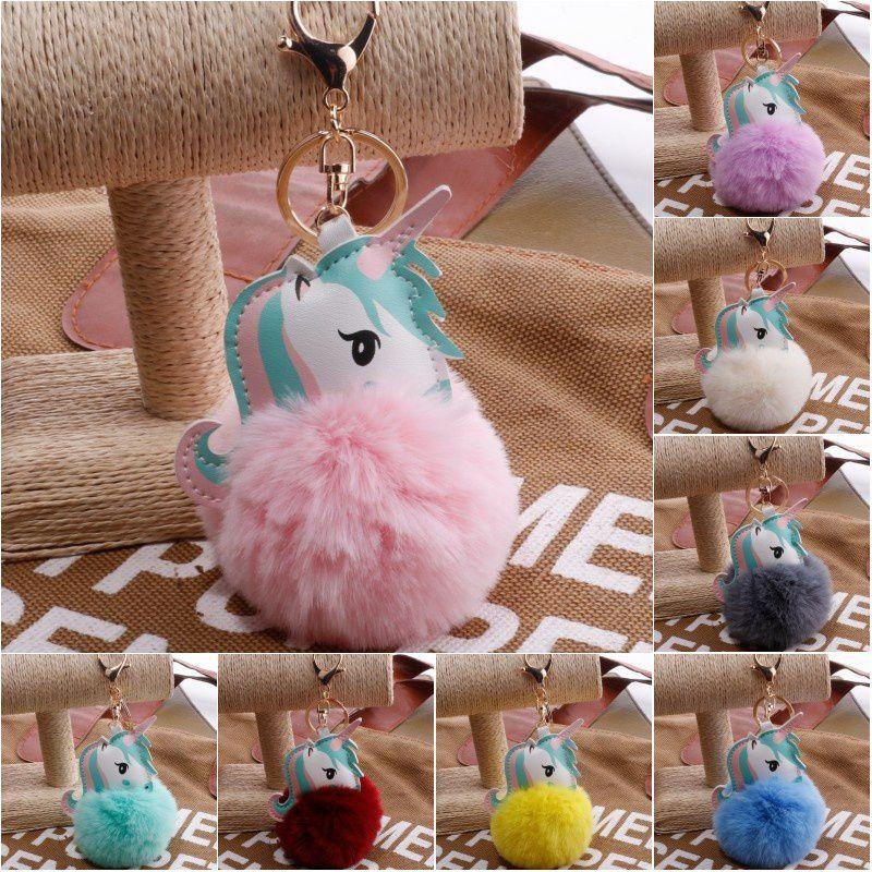Unicorn Pompom Keychain Faux Rabbit Fur Ball Licorne Key Chain Horse Porte Clef Pompon Bag Car Keyring Key Holder Toy Gifts