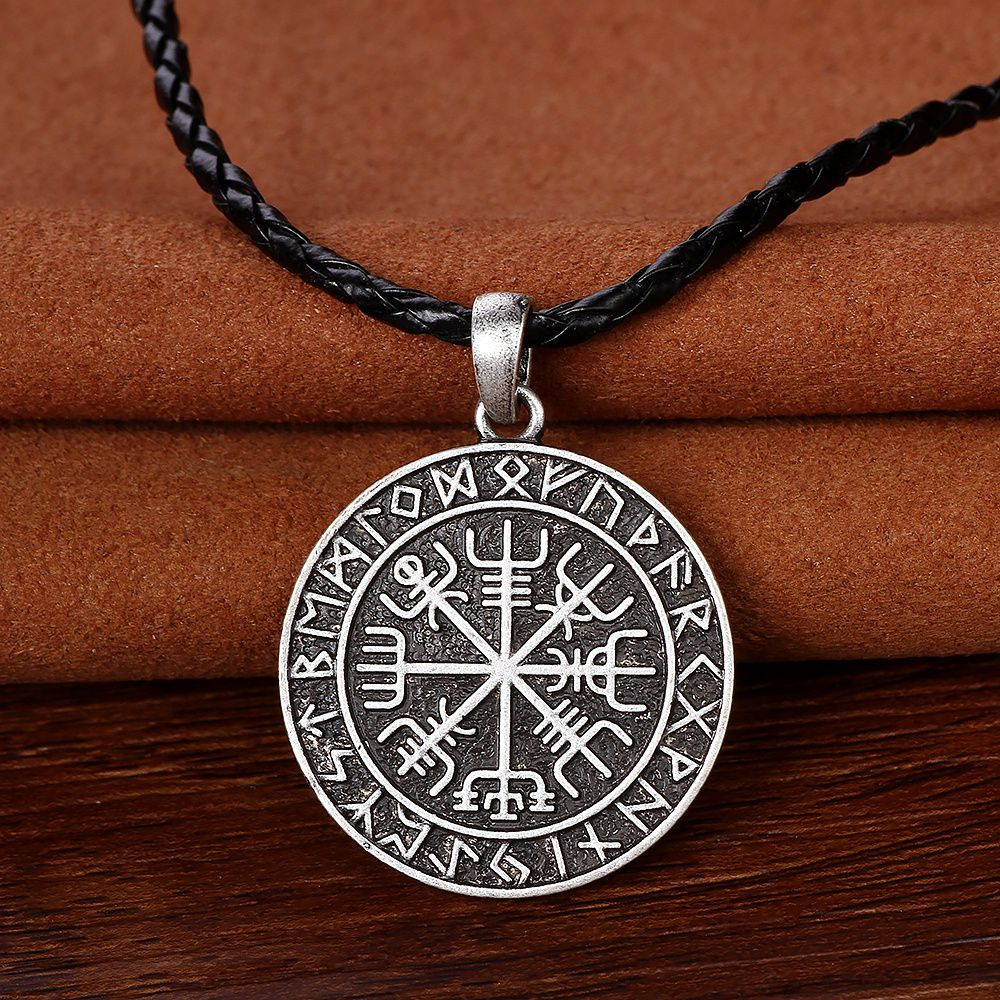 Viking Vegvisir Compass Pendant Valknut Odin\'s Symbal Of Norse Runic ...