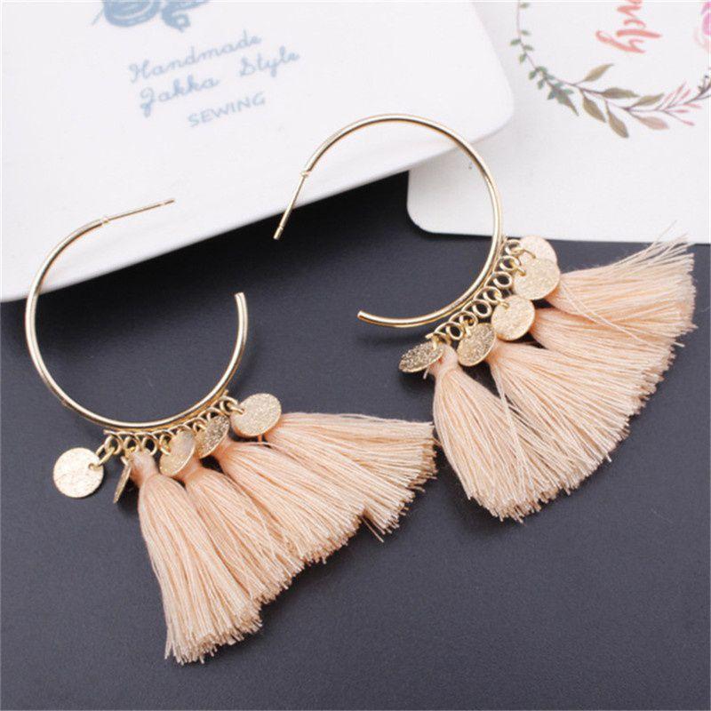 Women Bohomian  Drop Dangle Long Rope Fringe Cotton Tassel Earrings Trendy Sector Earrings for Women Fashion Jewelry Accessories