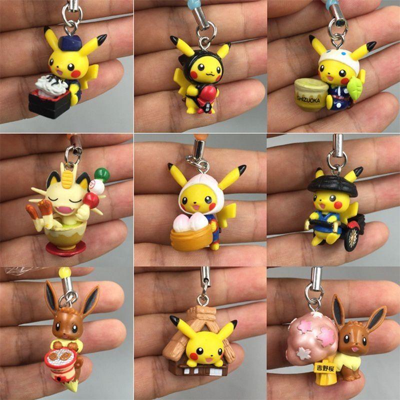 1Pcs Anime Pokemon Keychain Cosplay Figure Pikachu Keychains Pendants Pocket Monster Keyring
