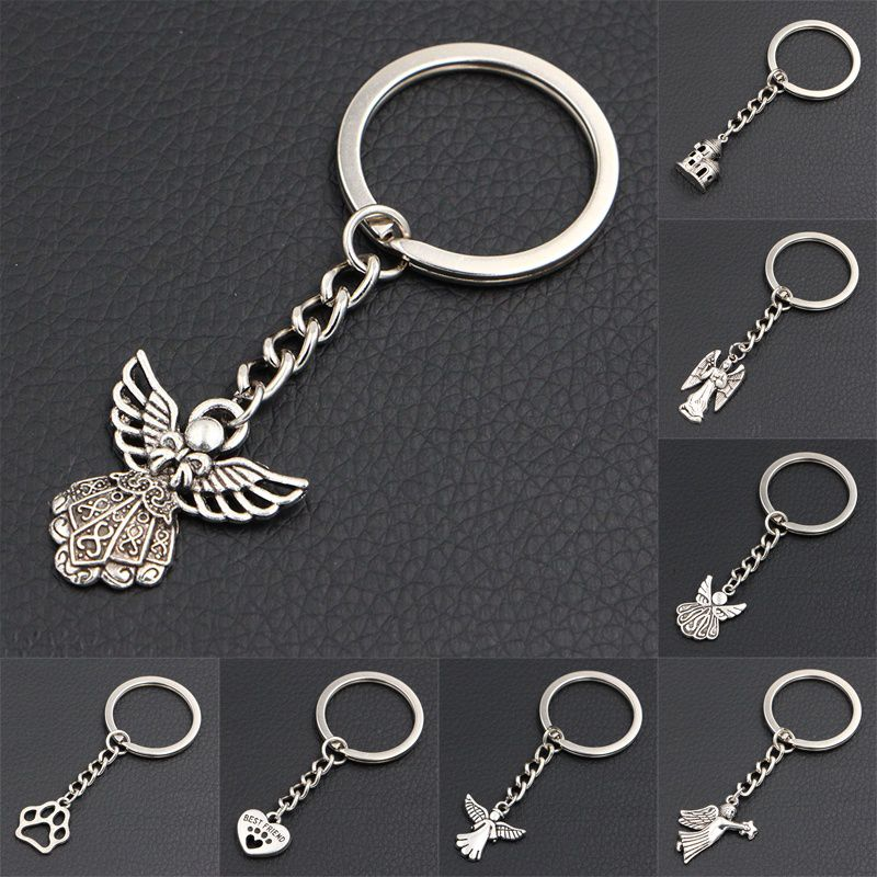 2018 New DIY Handmade Antique Silver Wing Guardian Angel Charms Key Chains Creative Novelty Gift Keychains Rings