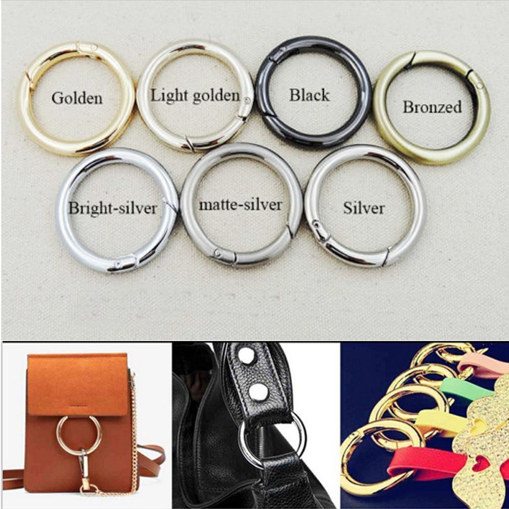 5 Pcs Spring Backpack Round Hook Hiking Circle 28mm Snap Clips Buckle Keyring Keychain
