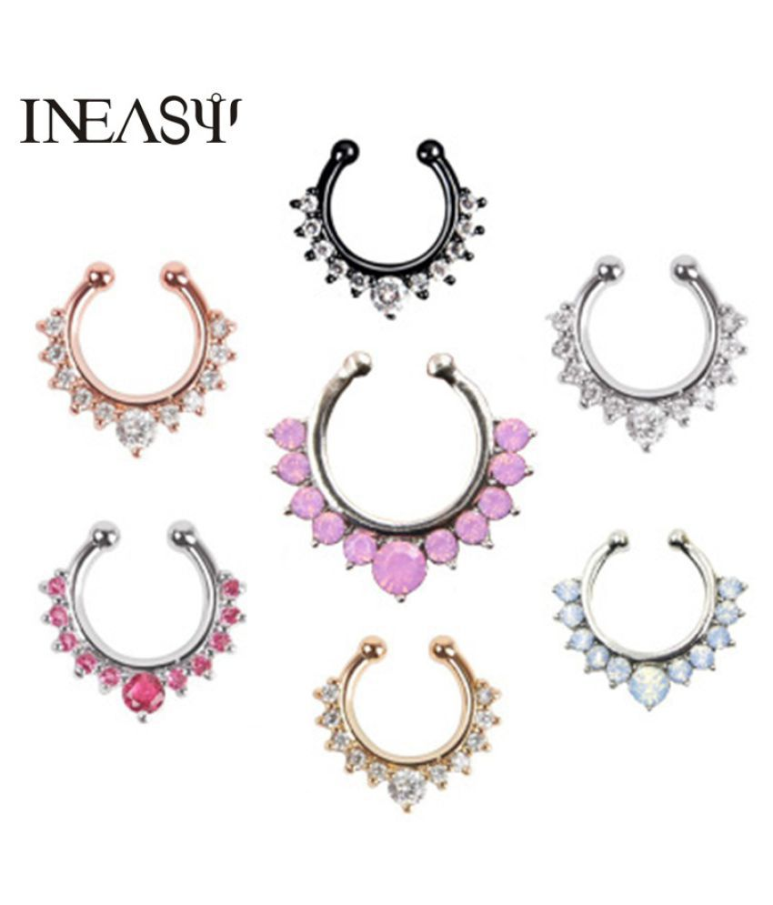 Crystal False Nose Rings And Studs Round Fake Septum Piercing