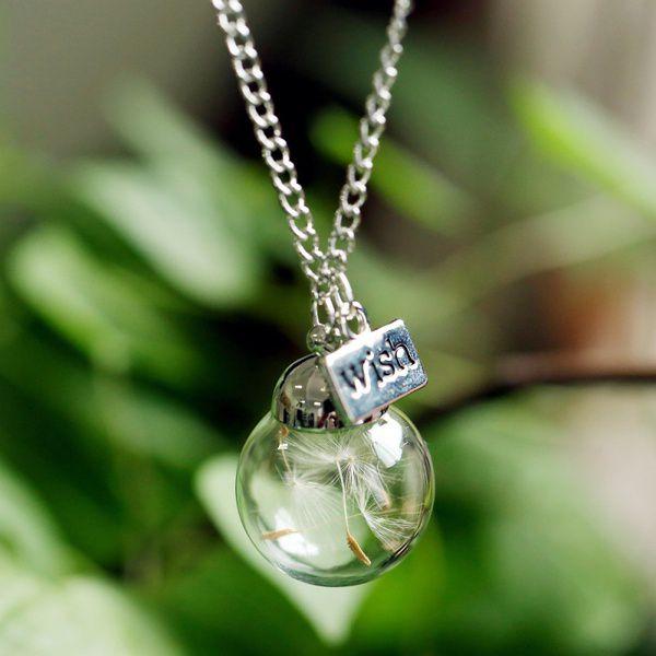 Dandelion Glass Bottle Living Memory Necklace