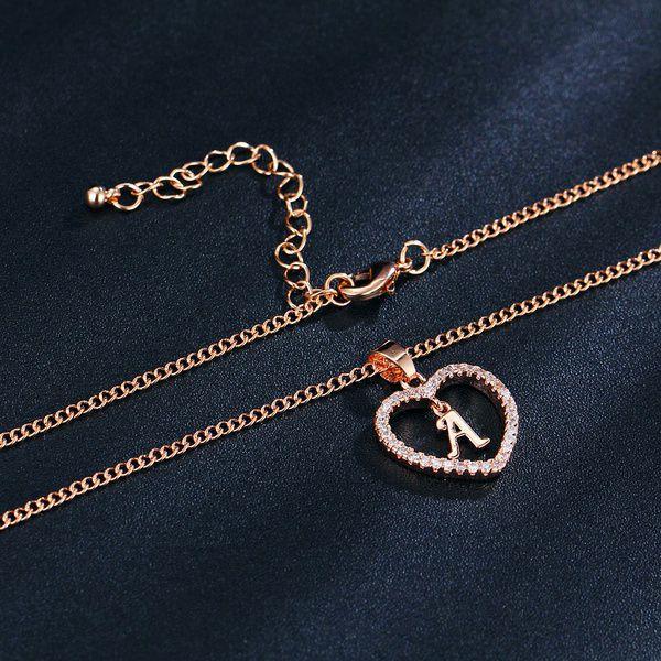 Exquisite 26 Letters Long Sweater Zircon Chain Pendant Necklace Love Heart Pendants for Women Collier Choker Necklaces Lovers Gift