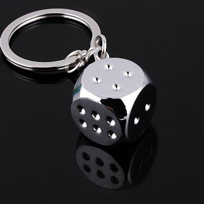 Fashion Creative Metal Dice Boson Key Ring Key Chain