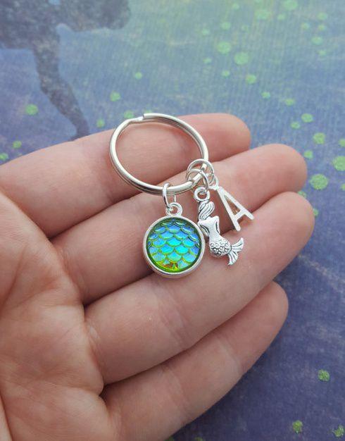 Mermaid Keyring, Mermaid Gifts, Personalised Keychain, Mermaid Scales, Mermaid Tail, Nautical Keychain, initial