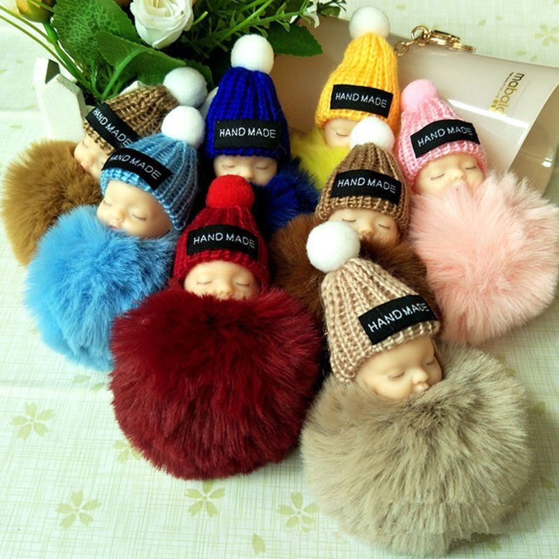 Rabbit Fur Pompom Sleeping Baby Key Chain Women Bag Handbag Doll Keychain