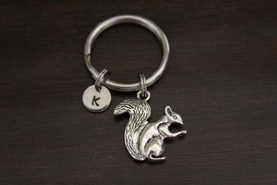 Squirrel Key Ring/ Keychain- Squirrel Keychain - Acorn Keychain - Oak Tree Keychain - Squirrel Lover Keychain