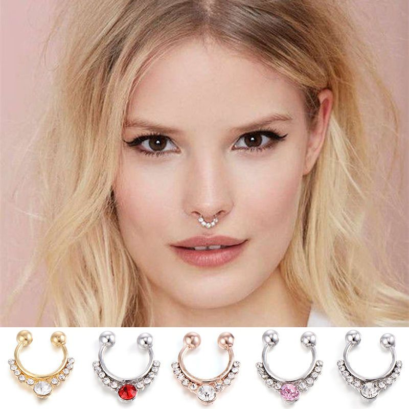 Women Fake Septum Nose Rings Crystal Gold Faux Piercing Nose Studs