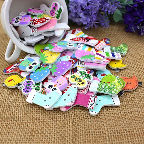 50pcs Owl Socks Chicken Animal Wood Buttons 2 Holes DIY Knopf Bouton