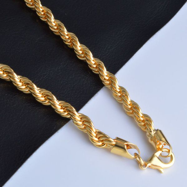 6MM Men Women Fashion 18K Yellow Gold Filled Rope Soft Twist Chain Necklace 16-30 Inches