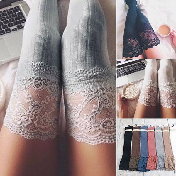 Fashion Winter Warm Women Knit Crochet Cotton Solid color Soft Thick Long Socks Thigh-High Leggings