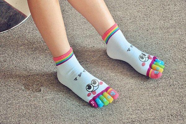 New Cute Cotton Women Sports Five Finger Toe Socks Short Ankle Low Cut Socks