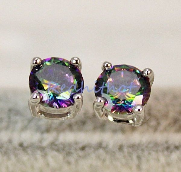 18K White Gold Filled- 7MM Round MYSTICAL Rainbow Topaz Hollow 2-Layer Earrings 9 Color to choose