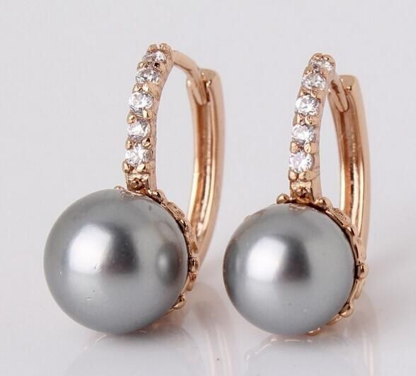 Fashion Jewellery 925 Sterling Silver & Gold Engagement Pearl CZ Sparking Earrings