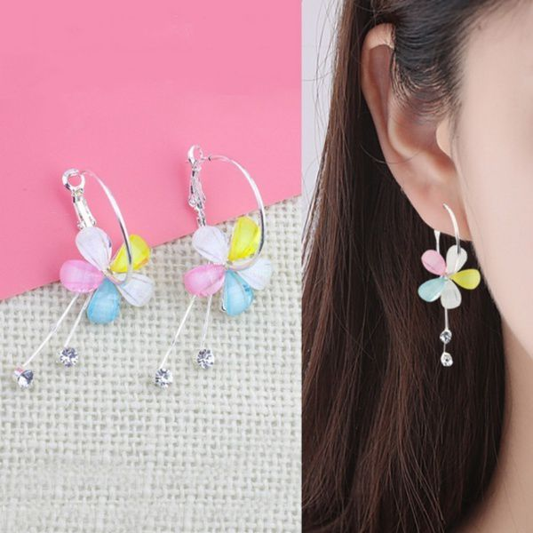 Korean Fashion Bontique Stereo Flower Large Diamond Earrings All Match Party Wedding Ornament Pendant Earrings