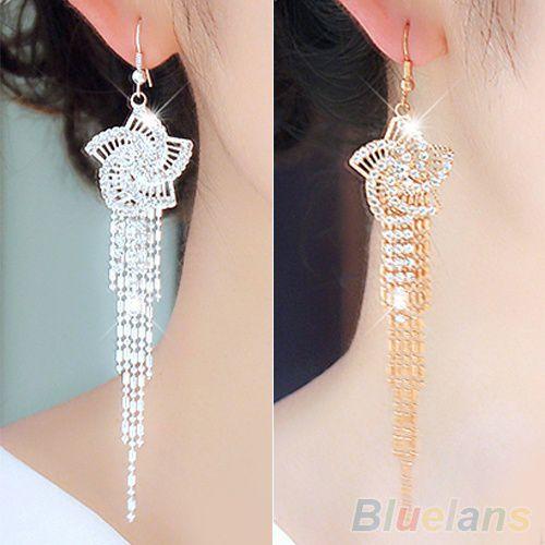 Women's Rhinestone Alloy Flower Long Tassels Drop Hook Dangle Cocktail Party Linear Earrings