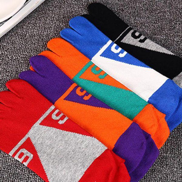 Men's Casual Five Fingers Toe Socks Comfortable Colorful Cotton Boat Socks