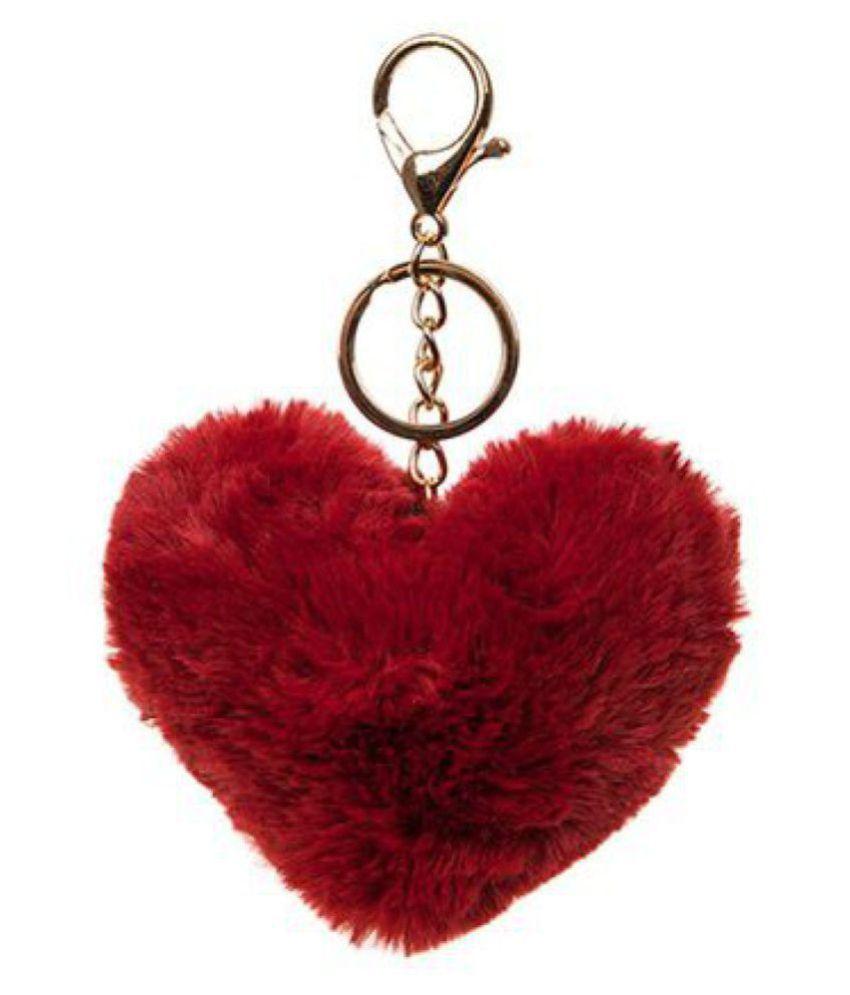 Maroon & Indigo Blue Heart Fur Key Chain