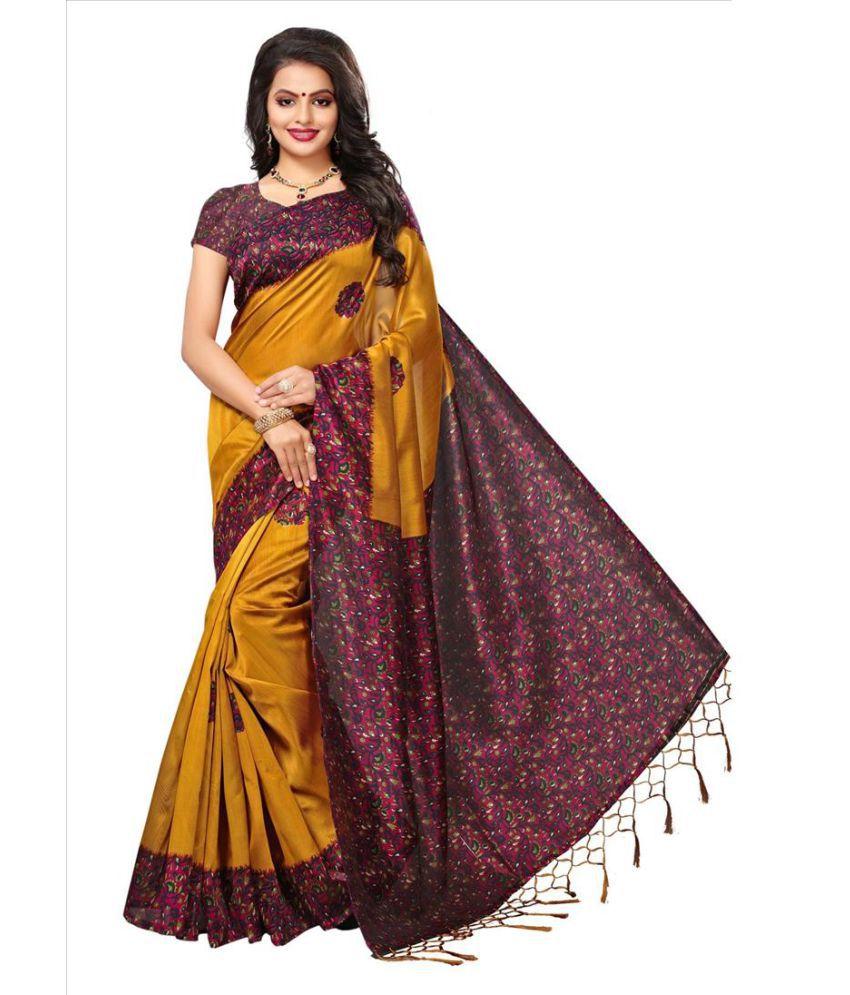 Indira Yellow and Brown Mysore Silk Saree