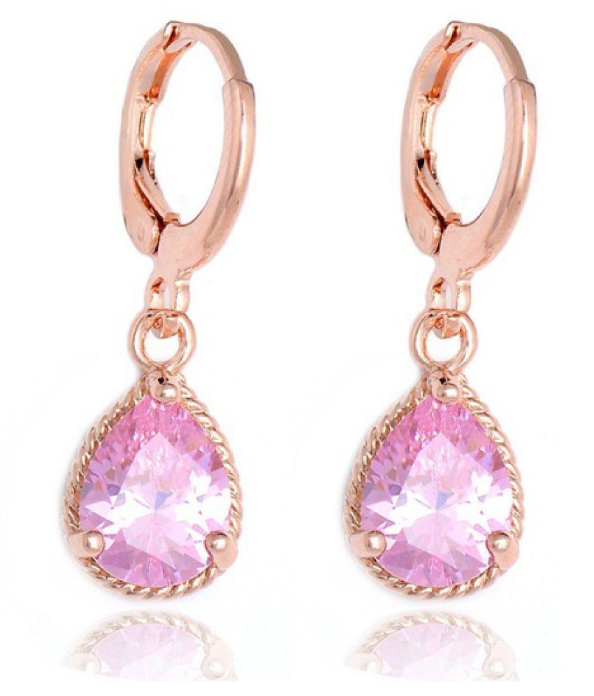 10 Colors 1pair 18K Gold Plated Cubic Zirconia Water Drop Hoop Earrings