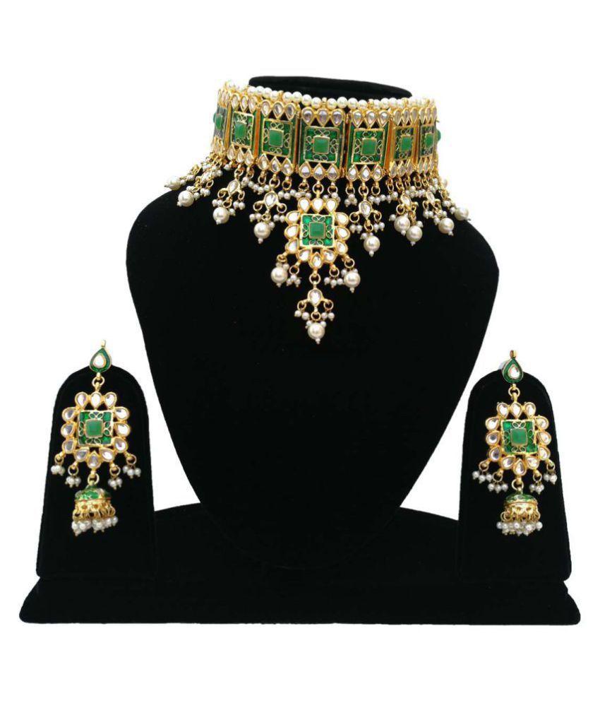Finekraft Meena Kundan Gold Plated Bridal Wedding Designer Necklace Jewelry Set