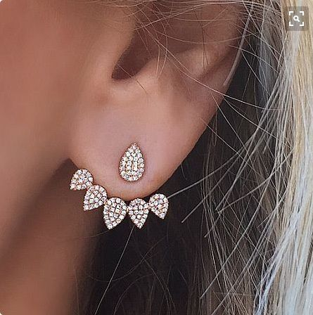 Luxury Crystal Rhinestone Earrings Women's Simple Earrings Silver Gold Earrings Double-sided Earrings Fashion Jewelry