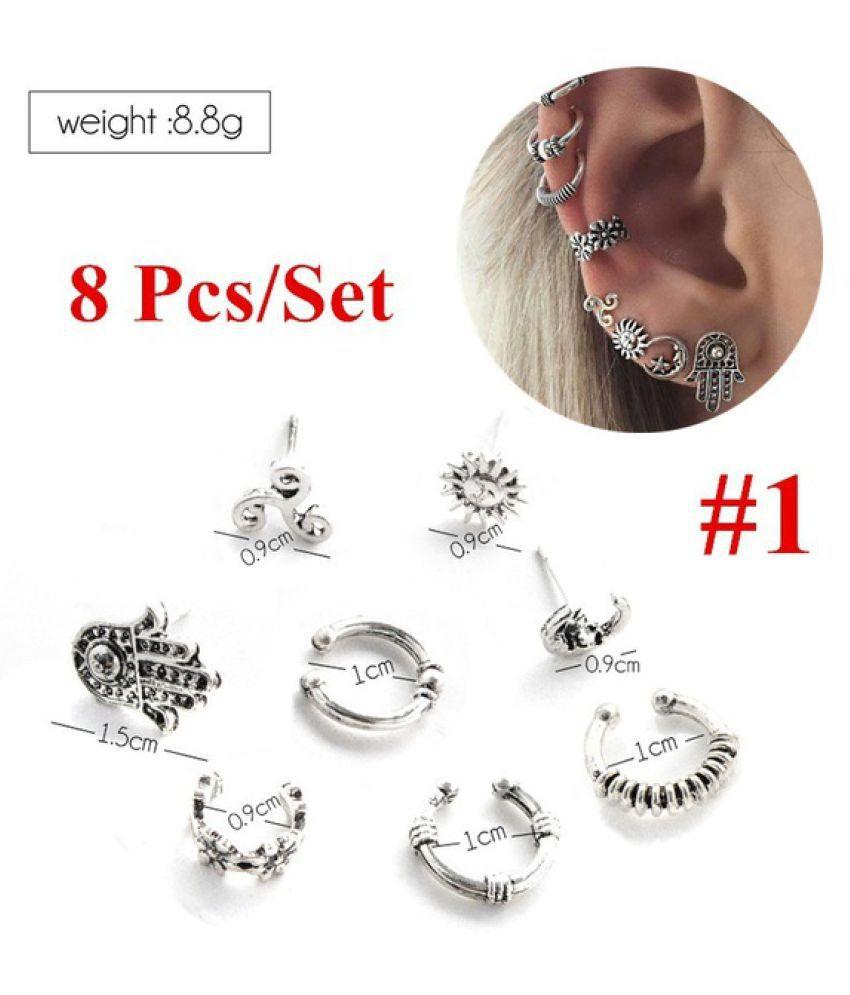Vintage Owl Leaves Alloy Stud Hoop Earring Set Boho Women Silver Arrow Fatima Hand Carved Ear Clip Jewelry Kit 7 Pcs 8 Pcs Set