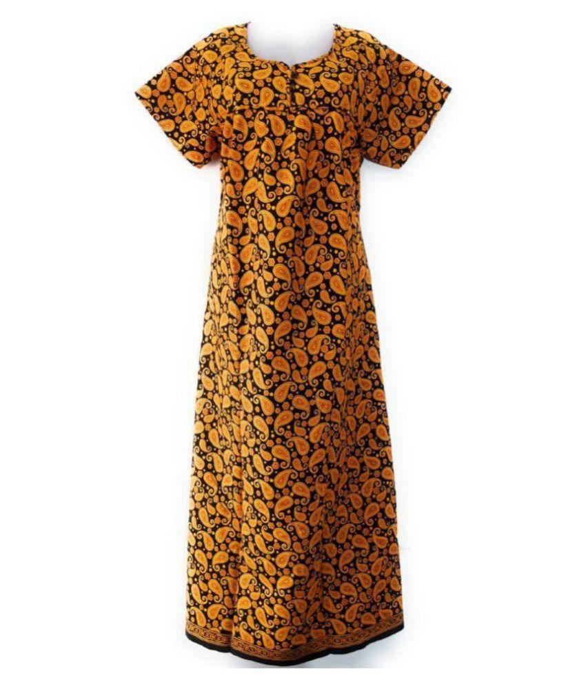 Zc Cotton Nighty & Night Gowns - Yellow