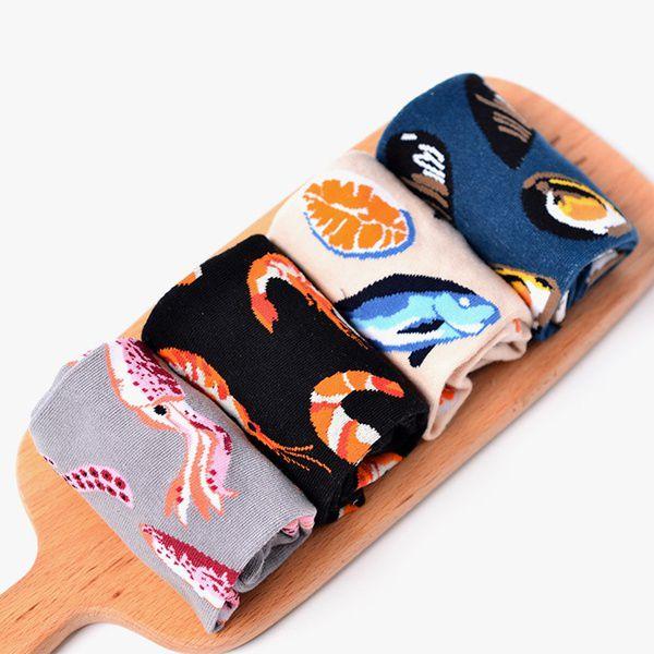 2017 New Fashion Mens Novelty Seafood Pattern Funny Hip Hop Soft Cotton Skateboard Couple Socks
