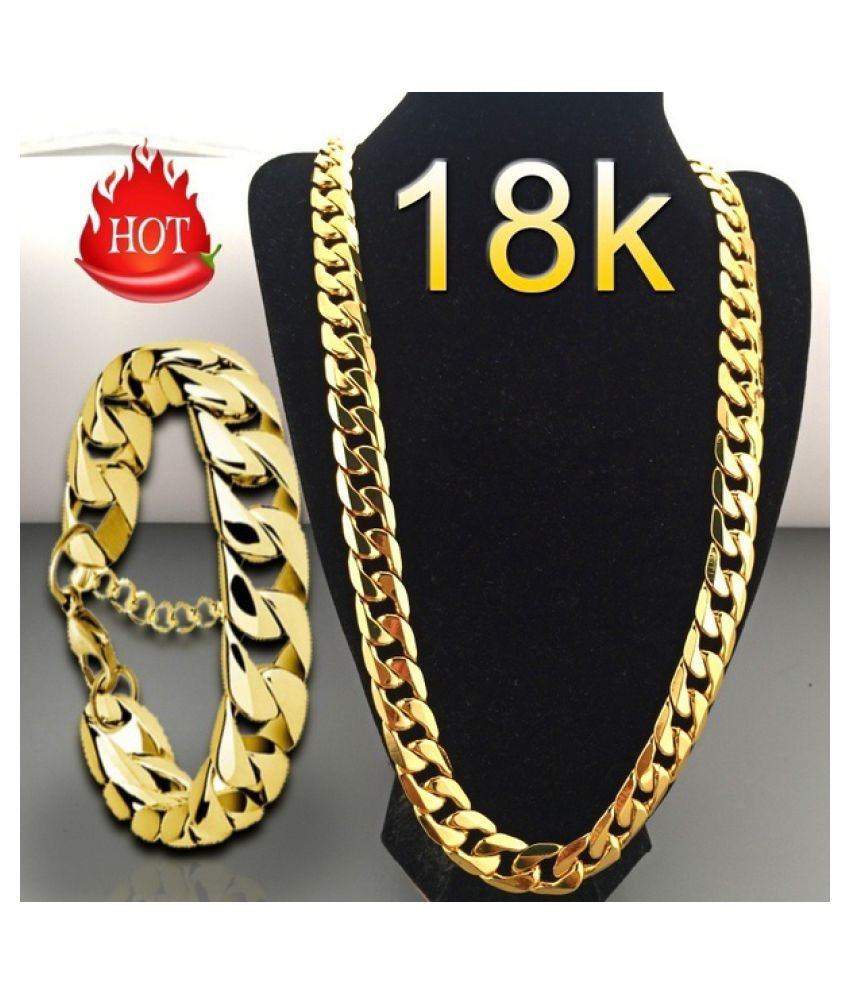 Fashion Luxury Jewerly 18k Yellow Gold plated Necklace and Bracelet for Women and Men