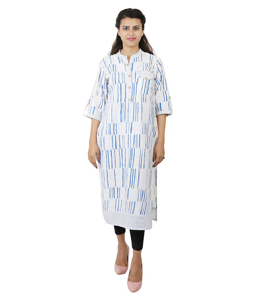 NIMMO Off White Cotton Straight Kurti