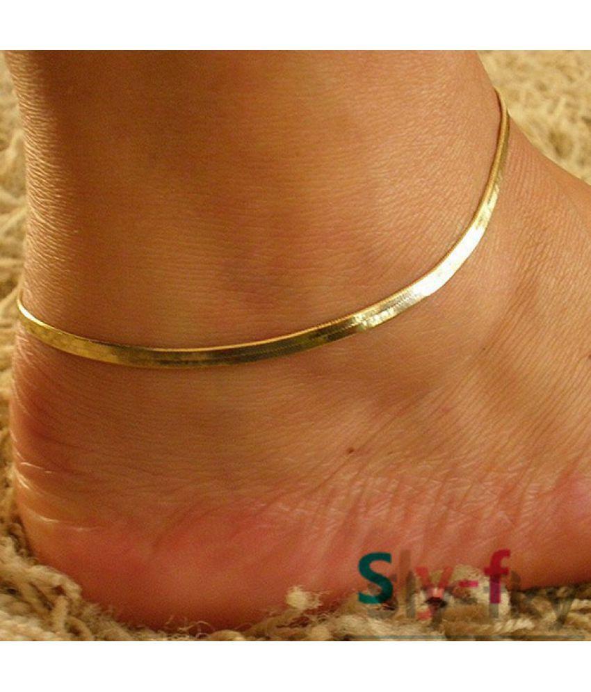 1Pcs Women Girls Silver/Gold Chain Ankle Bracelet Anklet Foot Jewelry