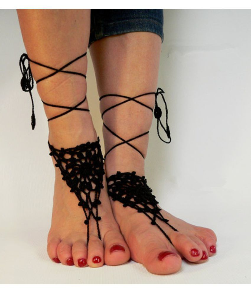 Crochet Barefoot Sandals, Anklet Barefoot Sandles, Foot jewelry, Steampunk, Victorian Lace, Black