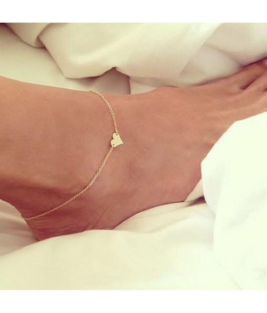 Fashion Sweet Simple Heart Shape Anklet Bracelet Chain Ankel Beach Foot Sandal Jewelry for Women