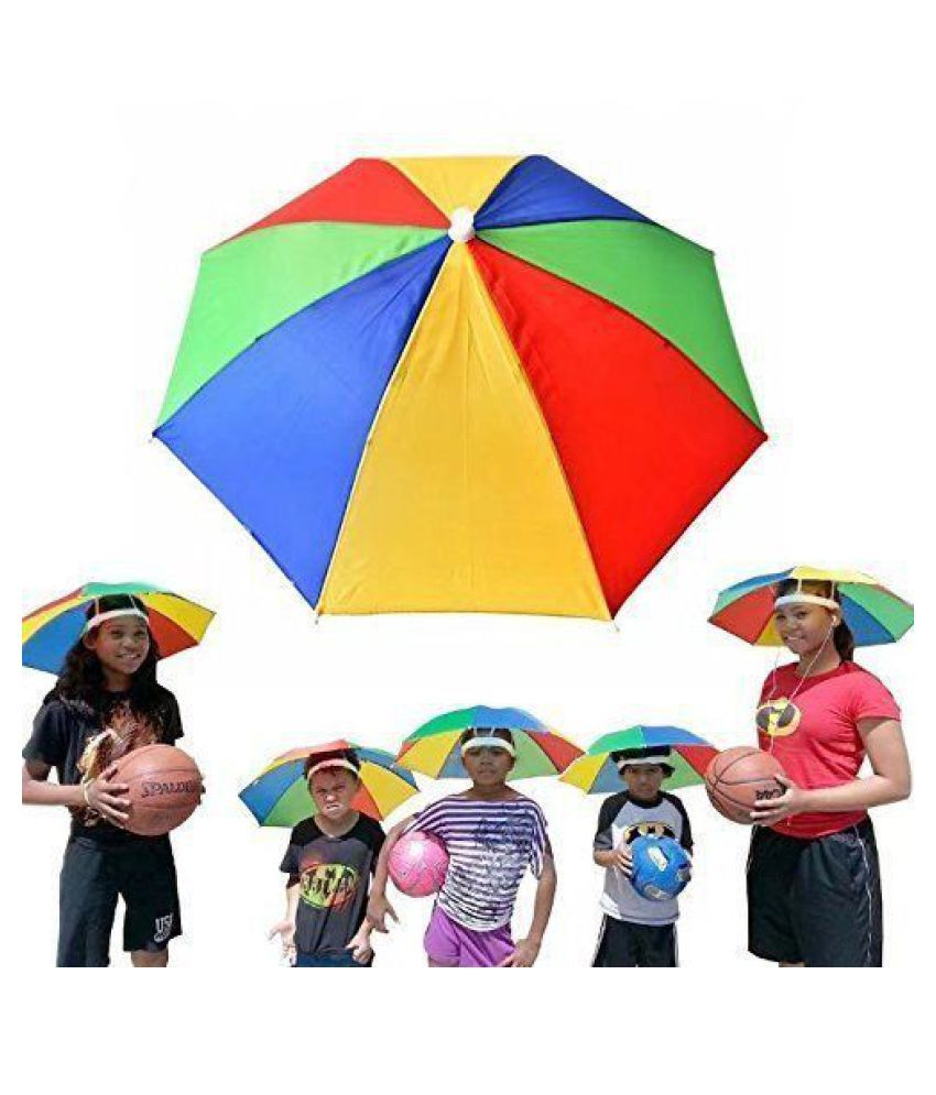 57109024eec92 Hat Head Hand Free Rainbow Colour Foldable for kids Boys and Girls Umbrella(53x30cm)(Small)   Buy Online at Low Price in India - Snapdeal