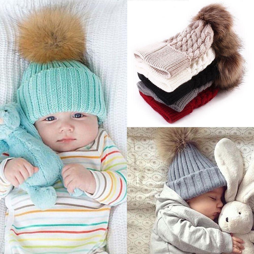 Kids Winter Warm Crochet Knit Hat Boys Girls Children Pom Bobble Beanie Cap