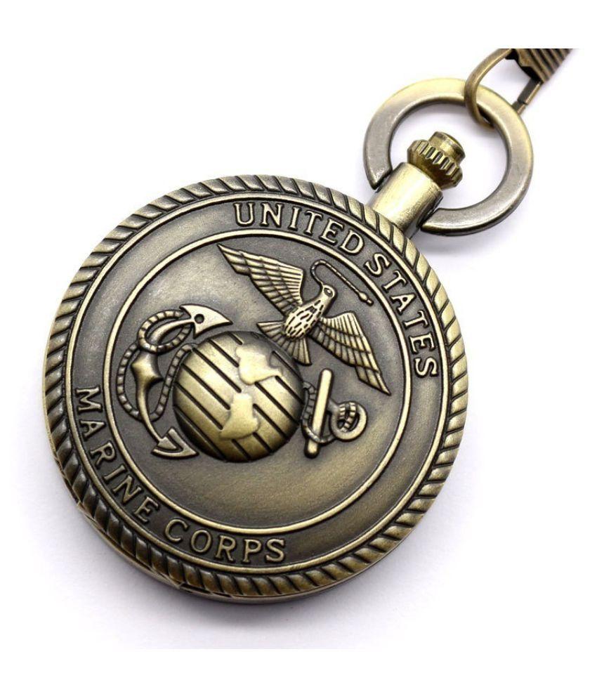 Vintage Bronze Retro United States Marine Corps Pocket