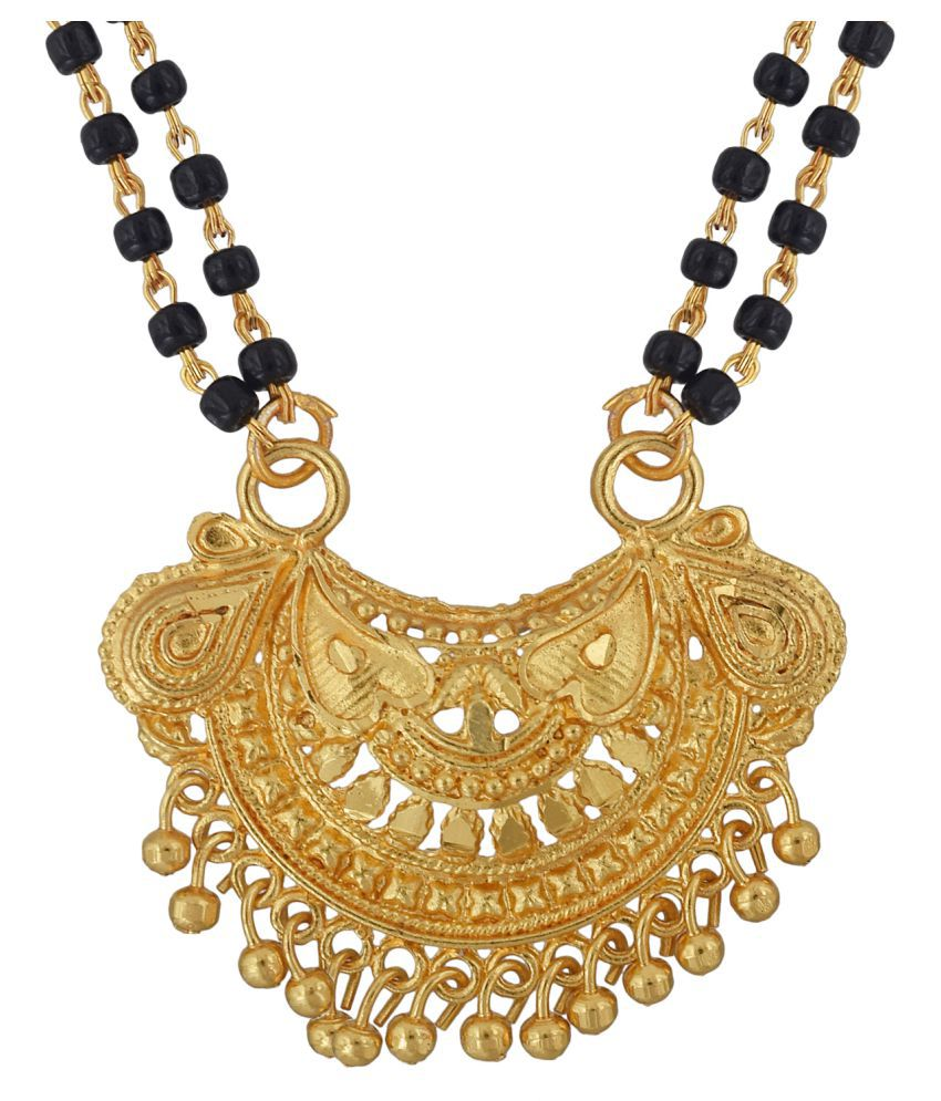 63b72d5ac51 Memoir Gold coated Brass, Half moon design Small, simple,sober and stylish,  Fashion Mangalsutra Women Traditional: Buy Memoir Gold coated Brass, ...