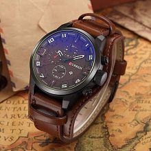 Curren Black Dial Genuine Leather Date Display Leather Chronograph Men's Watch