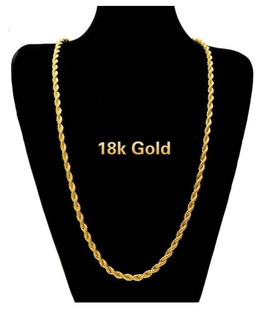 18k Gold Long Chain Necklace Men Jewelry Brand Gothic Gold Color Male Necklace Gifts(Size:18-30inch, 5mm)