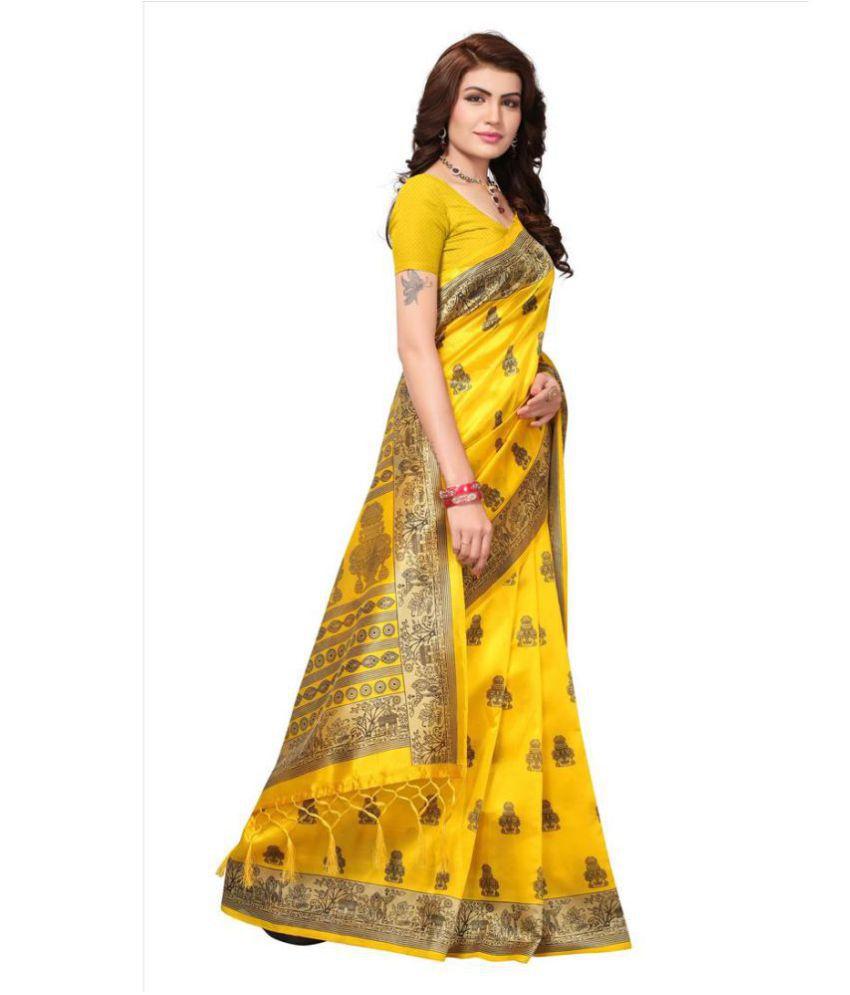 f3f154b80 Indira Yellow and Beige Mysore Silk Saree - Buy Indira Yellow and ...