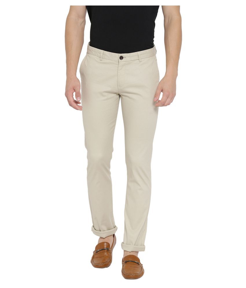 Duke Khaki Slim -Fit Flat Trousers